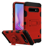 Military Grade Certified Storm Tank Hybrid Armor Case with Stand for Samsung Galaxy S10 - Red
