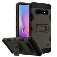 Military Grade Certified Storm Tank Hybrid Armor Case with Stand for Samsung Galaxy S10 - Grey