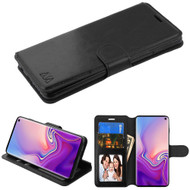 Book-Style Leather Folio Case for Samsung Galaxy S10 - Black