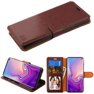 Book-Style Leather Folio Case for Samsung Galaxy S10 - Brown