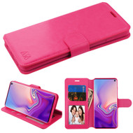 Book-Style Leather Folio Case for Samsung Galaxy S10 - Hot Pink
