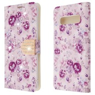 Luxury Bling Portfolio Leather Wallet Case for Samsung Galaxy S10 - Fresh Purple Flowers
