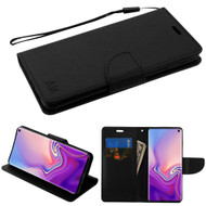 Diary Leather Wallet Stand Case for Samsung Galaxy S10 - Black
