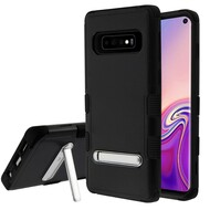 Military Grade Certified TUFF Hybrid Armor Case with Stand for Samsung Galaxy S10 - Black