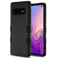 Military Grade Certified TUFF Fuse Hybrid Armor Case for Samsung Galaxy S10 - Carbon Fiber Black