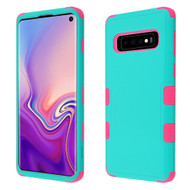 Military Grade Certified TUFF Hybrid Armor Case for Samsung Galaxy S10 - Teal Green Electric Pink
