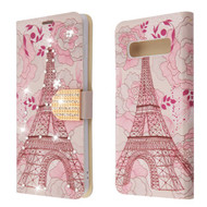 Luxury Bling Portfolio Leather Wallet Case for Samsung Galaxy S10 - Eiffel Tower