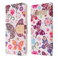 Luxury Bling Portfolio Leather Wallet Case for Samsung Galaxy S10 - Butterfly Wonderland