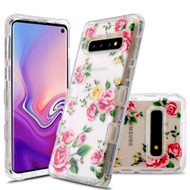 Military Grade Certified TUFF Lucid Transparent Hybrid Armor Case for Samsung Galaxy S10 - Pink Rose