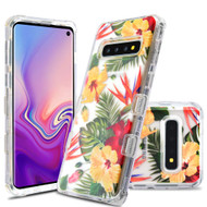 Military Grade Certified TUFF Lucid Transparent Hybrid Armor Case for Samsung Galaxy S10 - Hibiscus