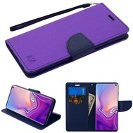 Diary Leather Wallet Stand Case for Samsung Galaxy S10 - Purple Navy Blue