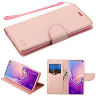 Diary Leather Wallet Stand Case for Samsung Galaxy S10 - Rose Gold