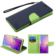 Diary Leather Wallet Stand Case for Samsung Galaxy S10 - Navy Blue Green