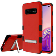 Military Grade Certified TUFF Hybrid Armor Case with Stand for Samsung Galaxy S10 - Red