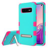 Military Grade Certified TUFF Hybrid Armor Case with Stand for Samsung Galaxy S10 - Teal Green Electric Pink