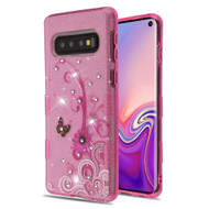 Tuff Full Glitter Diamond Hybrid Protective Case for Samsung Galaxy S10 - Butterfly Flowers