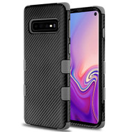 Military Grade Certified TUFF Fuse Hybrid Armor Case for Samsung Galaxy S10 - Carbon Fiber Black Grey