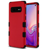 Military Grade Certified TUFF Fuse Hybrid Armor Case for Samsung Galaxy S10 - Carbon Fiber Red