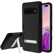 Military Grade Certified TUFF Hybrid Armor Case with Stand for Samsung Galaxy S10 Plus - Black