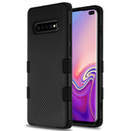 Military Grade Certified TUFF Fuse Hybrid Armor Case for Samsung Galaxy S10 Plus - Carbon Fiber Black