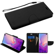 Diary Leather Wallet Stand Case for Samsung Galaxy S10 Plus - Black