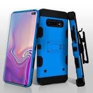 Military Grade Certified Storm Tank Hybrid Case with Holster and Screen Protector for Samsung Galaxy S10 Plus - Blue