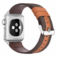 Canvas Fabric Genuine Leather Strap Watch Band for Apple Watch 44mm / 42mm - Brown