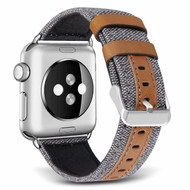 Canvas Fabric Genuine Leather Strap Watch Band for Apple Watch 44mm / 42mm - Grey