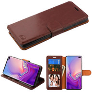 Book-Style Leather Folio Case for Samsung Galaxy S10 Plus - Brown