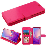Book-Style Leather Folio Case for Samsung Galaxy S10 Plus - Hot Pink
