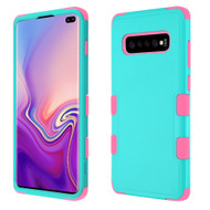 Military Grade Certified TUFF Hybrid Armor Case for Samsung Galaxy S10 Plus - Teal Green Electric Pink