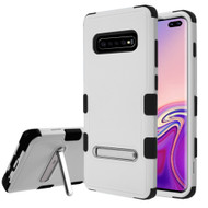 Military Grade Certified TUFF Hybrid Armor Case with Stand for Samsung Galaxy S10 Plus - Grey