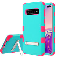 Military Grade Certified TUFF Hybrid Armor Case with Stand for Samsung Galaxy S10 Plus - Teal Green Electric Pink
