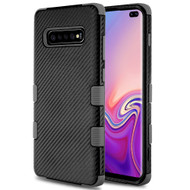 Military Grade Certified TUFF Fuse Hybrid Armor Case for Samsung Galaxy S10 Plus - Carbon Fiber Black Grey