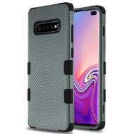 Military Grade Certified TUFF Fuse Hybrid Armor Case for Samsung Galaxy S10 Plus - Carbon Fiber Grey