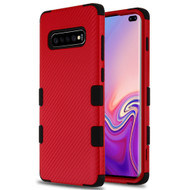 Military Grade Certified TUFF Fuse Hybrid Armor Case for Samsung Galaxy S10 Plus - Carbon Fiber Red