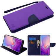 Diary Leather Wallet Stand Case for Samsung Galaxy S10 Plus - Purple Navy Blue