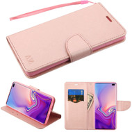 Diary Leather Wallet Stand Case for Samsung Galaxy S10 Plus - Rose Gold