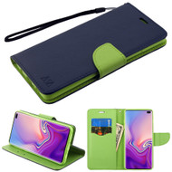 Diary Leather Wallet Stand Case for Samsung Galaxy S10 Plus - Navy Blue Green