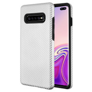 Carbon Fiber Hybrid Case for Samsung Galaxy S10 Plus - Silver