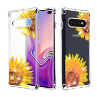 Klarion Crystal Clear Diamond Tough Case for Samsung Galaxy S10 Plus - Sunflower Field