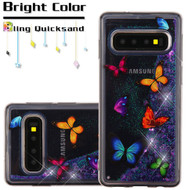 Quicksand Glitter Transparent Case for Samsung Galaxy S10 Plus - Butterfly Dancing