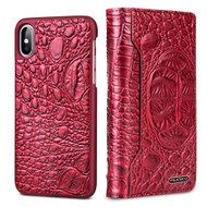 3-IN-1 Tri-Fold Italian Crocodile Leather Wallet with Removable Magnetic Case for iPhone XS / X - Red