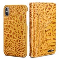 3-IN-1 Tri-Fold Italian Crocodile Leather Wallet with Removable Magnetic Case for iPhone XS / X - Yellow