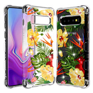 TUFF Klarity Lux Diamond Electroplating Transparent Anti-Shock TPU Case for Samsung Galaxy S10 Plus - Hibiscus
