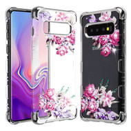 TUFF Klarity Lux Diamond Electroplating Transparent Case for Samsung Galaxy S10 Plus - Romantic Love Flowers