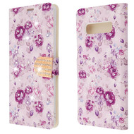 Luxury Bling Portfolio Leather Wallet Case for Samsung Galaxy S10 Plus - Fresh Purple Flowers