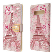 Luxury Bling Portfolio Leather Wallet Case for Samsung Galaxy S10 Plus -Eiffel Tower