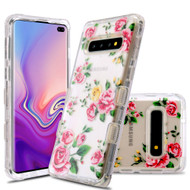 Military Grade Certified TUFF Lucid Transparent Hybrid Armor Case for Samsung Galaxy S10 Plus - Pink Rose