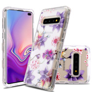 Military Grade Certified TUFF Lucid Transparent Hybrid Armor Case for Samsung Galaxy S10 Plus - Purple Stargazers